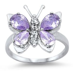 CLEARANCE  Lavender Butterfly Ring Sterling Silver